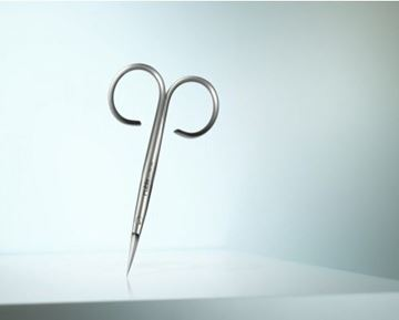 Picture of High-quality cuticle scissors made of martensitic steel in a distinctive design.